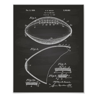 Arte de la patente del fútbol 1939 - pizarra póster