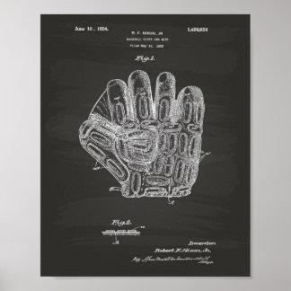 Arte de la patente del guante de béisbol 1924 - póster