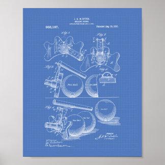 Arte de la patente del puente 1910 del billar - póster