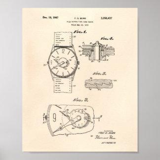 Arte de la patente del reloj 1966 - Peper viejo Póster