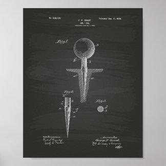 Arte de la patente del tee de golf 1899 - pizarra póster