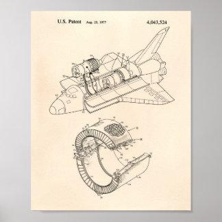 Arte de la patente del transbordador espacial 1977 póster