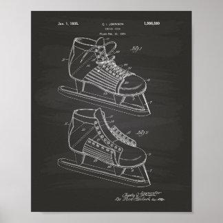 Arte de la patente del zapato 1934 del hockey - póster