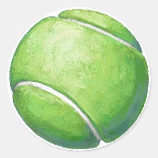Arte de la pelota de tenis pegatina redonda
