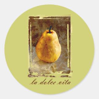 Arte de la pera etiquetas redondas