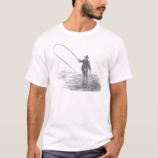 Arte de la pesca con mosca del vintage playera