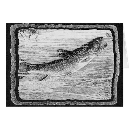 Arte de la pesca con mosca del vintage tarjeta