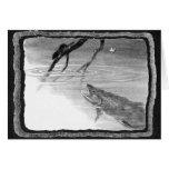 Arte de la pesca con mosca del vintage tarjetón