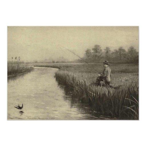 """Arte de la pesca del río del vintage invitación 5"""" x 7"""""""