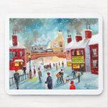 Arte de la pintura al óleo del tren del invierno d alfombrilla de raton