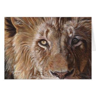 Arte de la pintura de la cara del león tarjeta de felicitación
