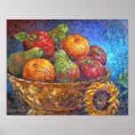 Arte de la pintura de la cesta de fruta - multi póster