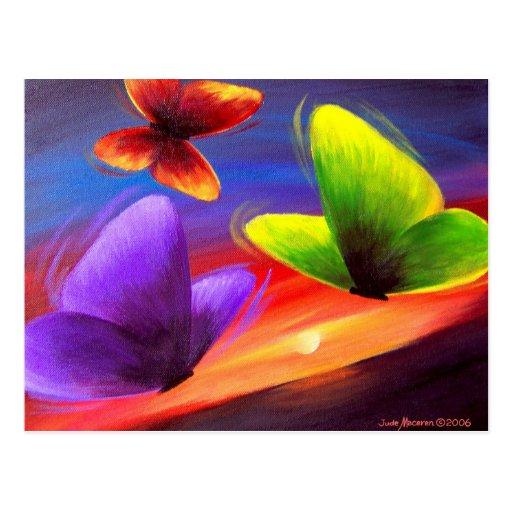 Arte de la pintura de la mariposa - multi postal