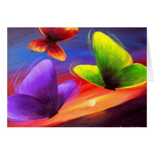 Arte de la pintura de la mariposa - multi felicitaciones