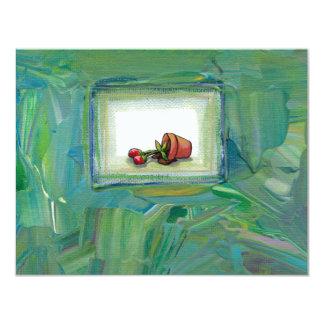 """Arte de la pintura de la planta potted de la flor invitación 4.25"""" x 5.5"""""""
