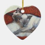 Arte de la pintura del gato siamés de la siesta de adorno de reyes