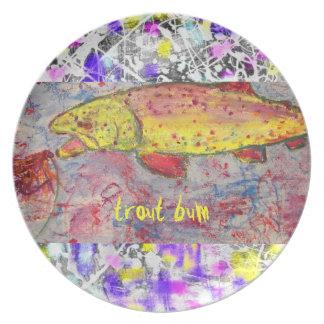 arte de la pintura del goteo del vago de la trucha platos