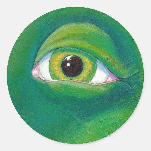 Arte de la pintura del lagarto de la rana del pegatina redonda