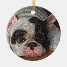 Arte de la pintura del perro del dogo francés ornamento para arbol de navidad