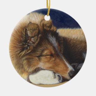 Arte de la pintura del perro del perro pastor de adorno navideño redondo de cerámica