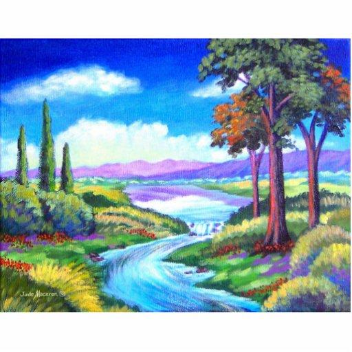 Arte de la pintura del río del paisaje - multi fotoescultura vertical