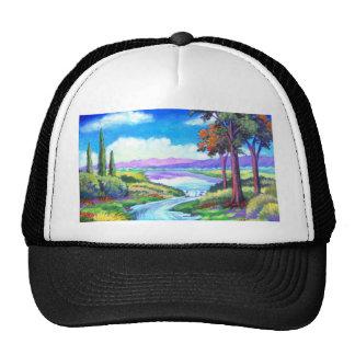 Arte de la pintura del río del paisaje - multi gorras