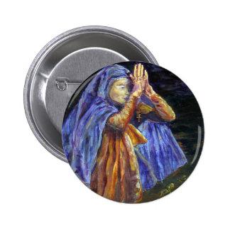 Arte de la pintura del rosario de Maria del saludo Pin Redondo 5 Cm
