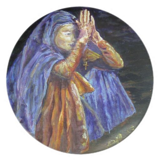 Arte de la pintura del rosario de Maria del saludo Platos Para Fiestas