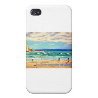 Arte de la playa de Bondi iPhone 4 Carcasas