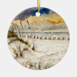Arte de la playa de Destin la Florida Adorno Navideño Redondo De Cerámica