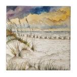Arte de la playa de Destin la Florida Teja Cerámica