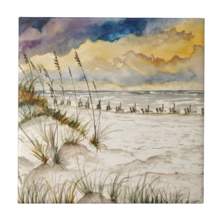 Arte de la playa de Destin la Florida Azulejo Cuadrado Pequeño
