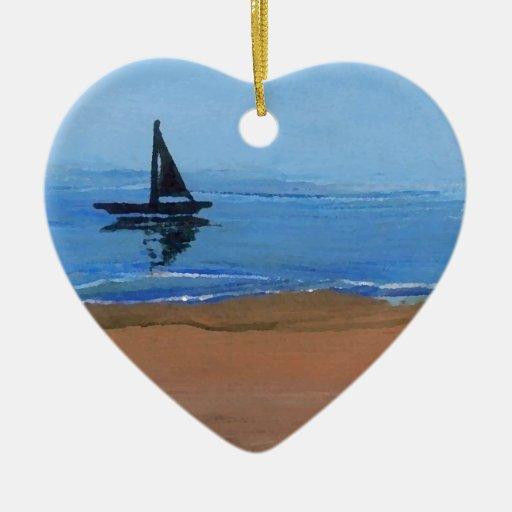 Arte de la playa del océano de las reflexiones de adorno de cerámica en forma de corazón