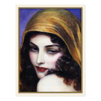 Arte de la postal con un chica gitano hermoso
