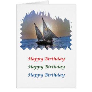 Arte de la puesta del sol - barco de vela de tarjeta de felicitación