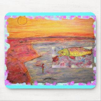 arte de la puesta del sol de la pesca con mosca alfombrillas de ratón
