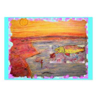 arte de la puesta del sol de la pesca con mosca tarjetas personales