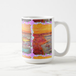 arte de la puesta del sol de la pesca con mosca taza de café