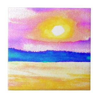 Arte de la puesta del sol del lago ocean de la ser azulejo cuadrado pequeño