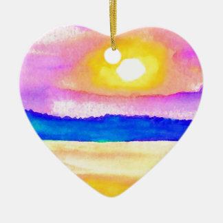 Arte de la puesta del sol del lago ocean de la ser adornos de navidad
