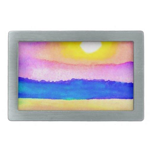 Arte de la puesta del sol del lago ocean de la ser hebillas cinturón rectangulares