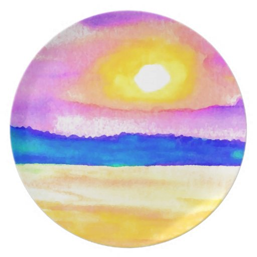 Arte de la puesta del sol del lago ocean de la ser platos