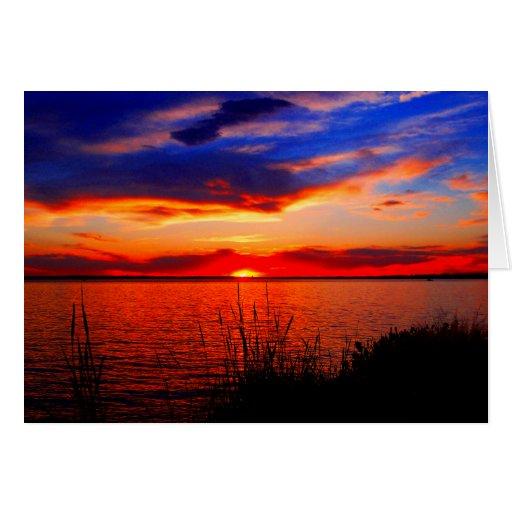 Arte de la puesta del sol tarjeta de felicitación