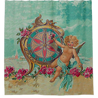 arte de la querube del vintage cortina de baño