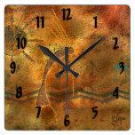 Arte de la roca de Kokopelli Reloj Cuadrado