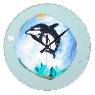 Arte de la roca, la ballena reloj redondo grande
