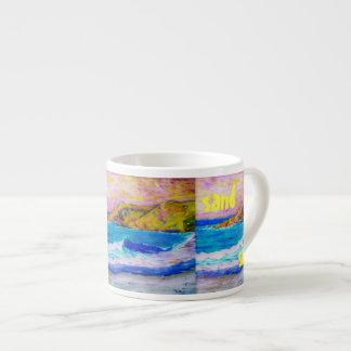arte de la sal de la arena de la resaca taza espresso