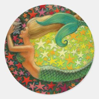 Arte de la sirena de la fantasía del círculo de la pegatina redonda