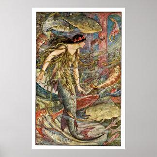 Arte de la sirena del Victorian por H J Ford Posters