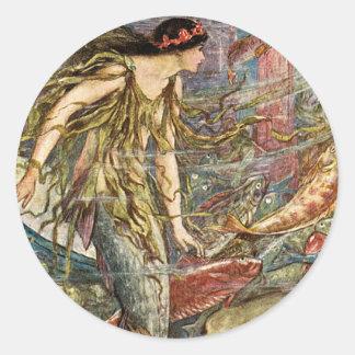 Arte de la sirena del Victorian por H J Ford Etiquetas Redondas